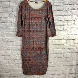 Simply Be Size 16 Dress Aztec 3/4 Sleeves